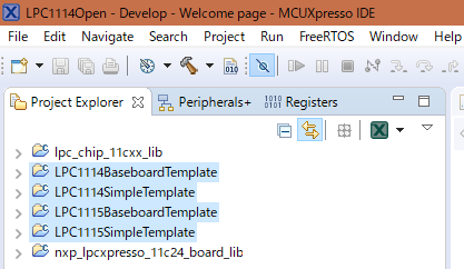 LPC111xTemplate Project Explorer