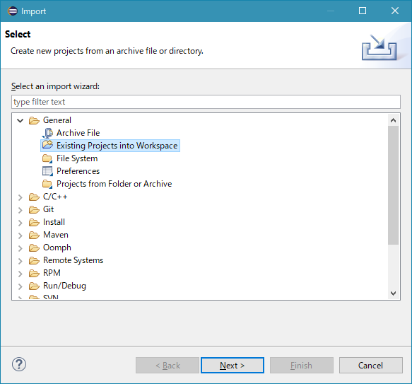 Import Existing Projects into Workspace
