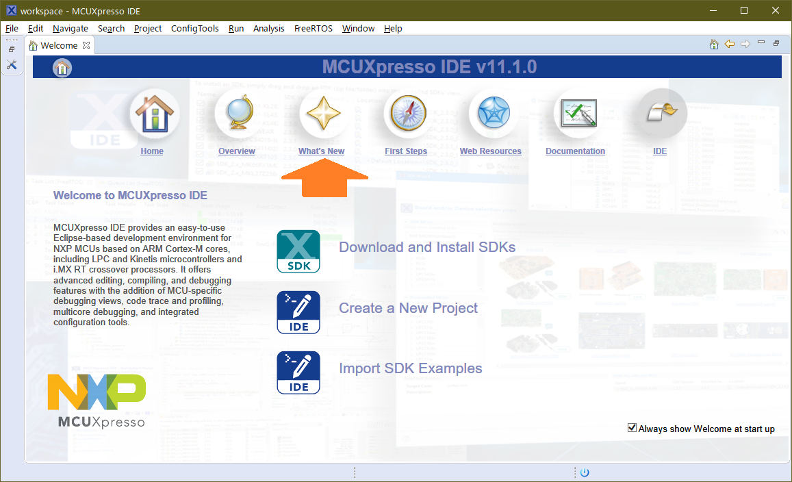 MCUXpresso IDE v11.1 Welcome Page