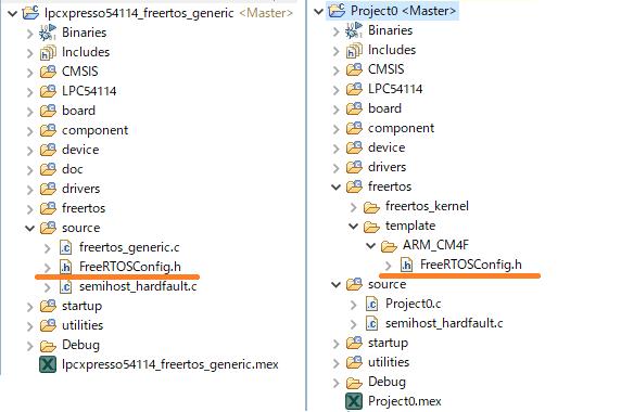 FreeRTOSサンプルプロジェクトと新規作成プロジェクトの構成差(FreeRTOSConfig.hの場所が異なる)