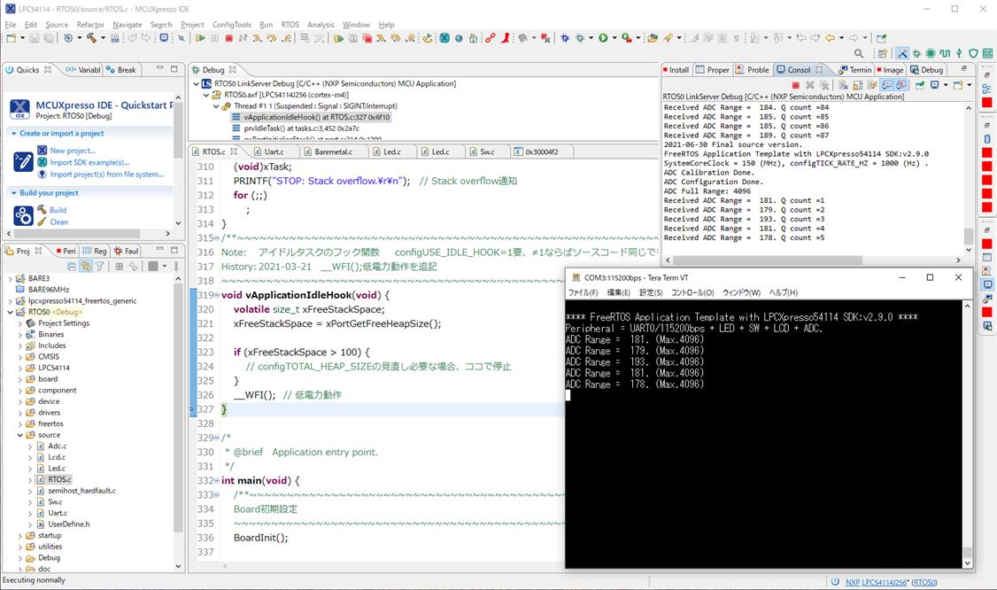 新MCUXpresso IDE 11.4.0で旧プロジェクト動作確認。LPCXpresso54114のSDK更新はなし。