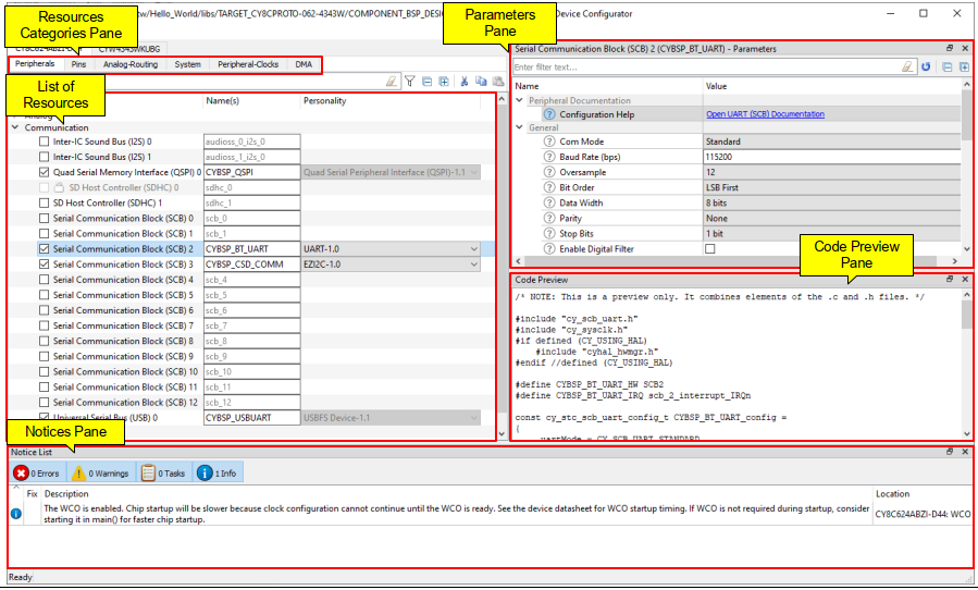 ModusToolbox のDevice Configurator